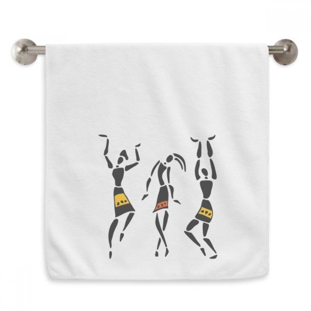 DIYthinker Primitive Africa Aboriginal Black Totems Dance Circlet White Towels Soft Towel Washcloth 13x29 Inch