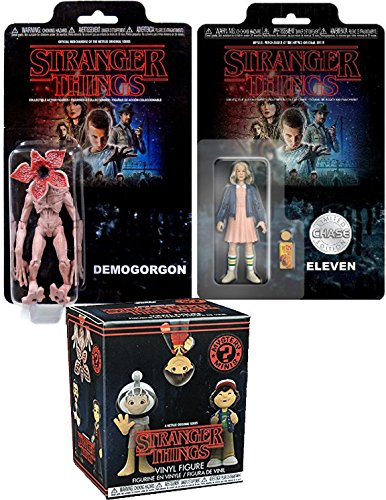 """Stranger Things CHASE Eleven Collectible Action Figures 2-Pack Demogorgon Monster Character & Chase 11 Limited Edition Funko 3.75"""" with Eggo Waffles + Funko Mystery Minis Blind Box"""