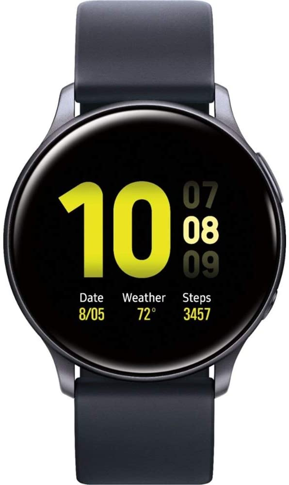 Samsung Galaxy Watch Active2 (Silicon Strap + Aluminum Bezel) Bluetooth - International (Aqua Black, R830-40mm)