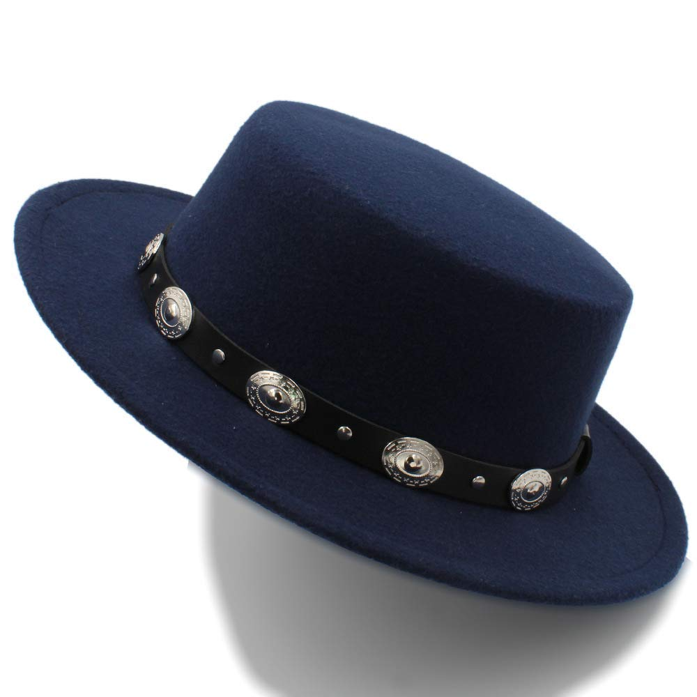 YChoice A Superb hat Dark Blue Fedora Hats for Men Pure Wool Large Brim Winter Mens Pork Pie Hat Leopard Band Fedoras for Men for Perfect Winter