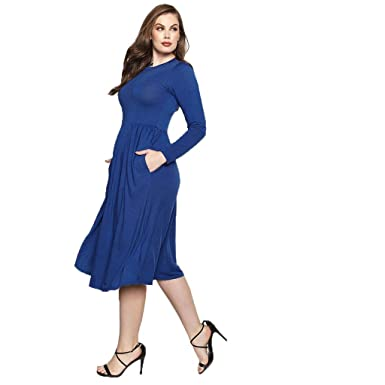 Women\'s Work Dress Office Casual Long Sleeve Skater A-Line Dress ...