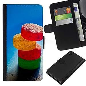 // PHONE CASE GIFT // Moda Estuche Funda de Cuero Billetera Tarjeta de crédito dinero bolsa Cubierta de proteccion Caso Sony Xperia Z2 D6502 / Sugar Candy /