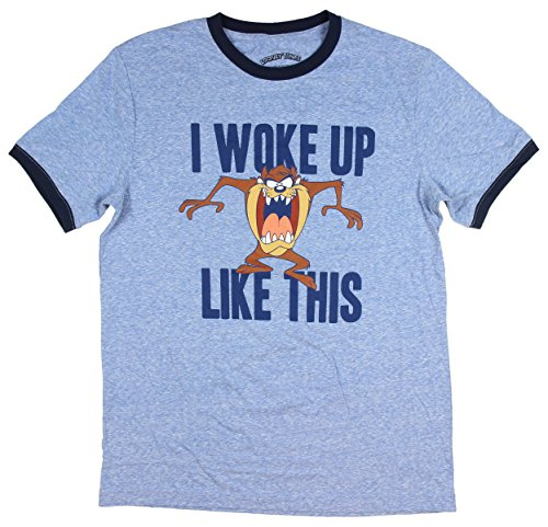 Looney Tunes Men's Taz I Woke Up This Way Ringer Style T-Shirt (Large) (Bugs Taz)