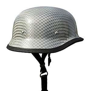 REAL Carbon Fiber German Motorcycle Helmet - Chrome (Extra Large)