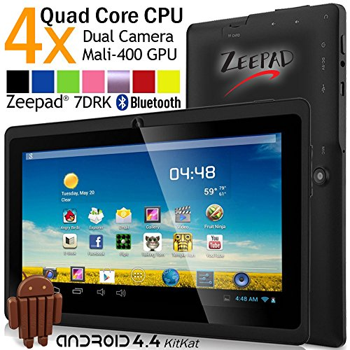Zeepad 7-Inch Android 4.4 KitKat Quad Core Capacitive Touch Screen Dual Camera Bluetooth Tablet PC, Black (7DRK-Q-Black)