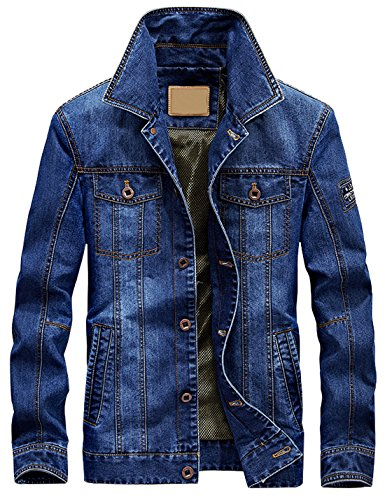 Jenkoon Men's Classic Rugged Washed Western Style Vintage Denim Trucker Jacket (Light Blue, - Coat Vintage Classic