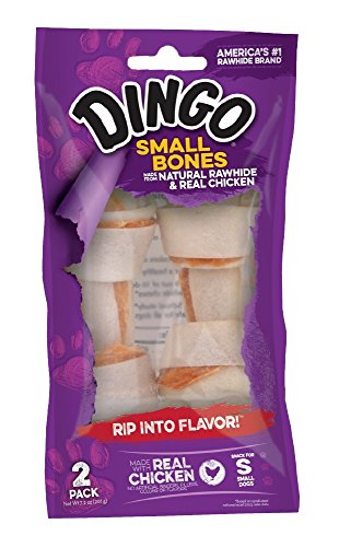 Premium Hand Tied Rawhide - Dingo Small Bones Made From Natural Rawhide and Real Chicken, 2-Count