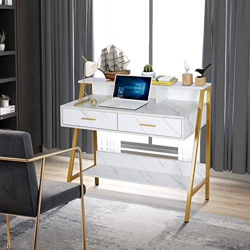 "Modern Writing Desk with Hutch - 39"" x 19"" Workstation Computer Work Study Table for Home Office Furniture Vanity Make Up Desk, 3 Tier Storage Shelf and a couple of Drawers (Marbling/Gold)"