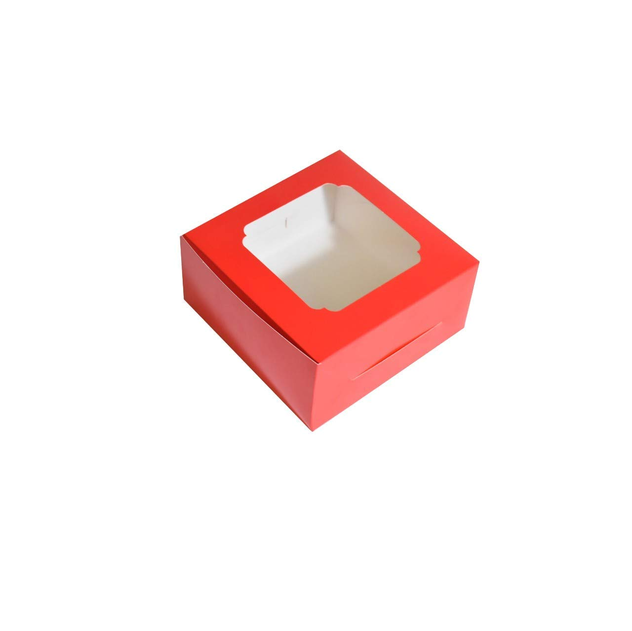 NEWKIE 20 Pack Bakery Boxes Cupcake Cookie Cardboard Container with Window - 6 x 6 x 3 Inch - Pastry Treat Dessert Box for Cake, Macaron, Donut, Pie, Muffin (Red)