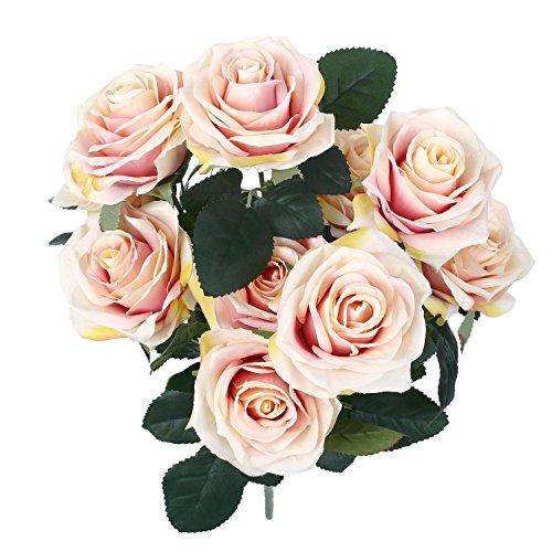 SOLEDI 10 Head French Rose Silk Flower Arrangement Artificial Fake Bouquet Wedding Living Room Table Home Garden Decor (Pink)