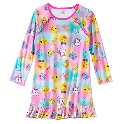 (Girls' Graphic Pajama Long Sleeve Nightgown featuring Puppy, Unicorn, Penguin &)