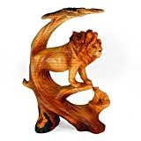 """StealStreet MME-692 Ss-Ug-Mme-692, 9"""" Lion Scene Animal Carving Faux Wood Decorative Figurine, Brown"""