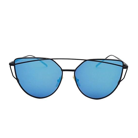 Lunettes de Soleil Cat Eye avec Portable Voyage Étui à lunette à glissière pour Femmes, Pawaca Miroir Lentilles Plates Rue Mode Moderne Armature en Métal Lunettes de Soleil UV400