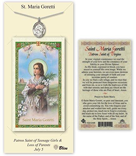 Pewter Saint Maria Goretti Medal with Laminated Holy Prayer Card (Maria Medal Goretti Saint)