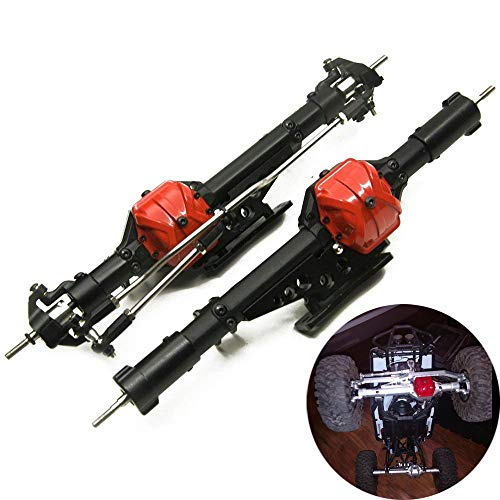 Que-T Aluminum Alloy Front Axle and Rear Axle for 1:10 Axial Wraith 90018 RC Model Crawler Car - Steering Aluminum Linkage Complete