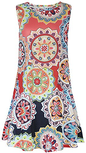Dress Loose Crew Women's AmySister Neck Pullover Floral Pocket Sleeveless Navy RqFUncZ
