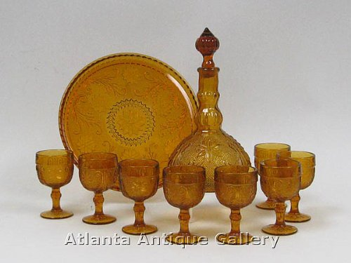Amber Indiana Glass Decanter, Tray and 8 Glasses Tiara Decanter