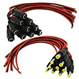 AimHD 10 Pairs Male & Female DC Power Pigtail 2.1mm x 5.5mm Connectors (Upgraded Gauge) for CCTV Security Surveillance Camera Power System and Led Strips Lighting Connection
