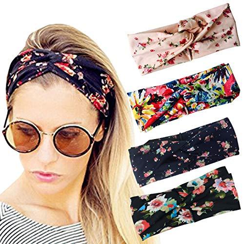 (DRESHOW Cross Headbands Vintage Elastic Head Wrap Stretchy Moisture Hairband Twisted Cute Hair Accessories (4 Pack Turban Cloth: Navy, Black, Pink, Blue))
