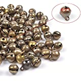 MANSHU 100pcs Pack 6MM Fashion Bronze Jingle Bell/ Small Bell/ Mini Bell for DIY Bracelet Anklets Necklace Knitting/Jewelry Making Accessories