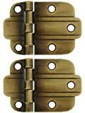 art deco cabinet hinges - Pair Of Solid Brass Art Deco Surface Cabinet Hinges In Antique-By-Hand