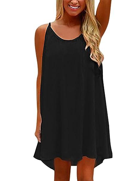 837be59d90ac Yidarton Womens Summer Long Dress Casual Sleeveless Beach Backless Mini  Dresses  Amazon.co.uk  Clothing