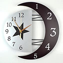Color Map Large Creative Fashion Concise Design Bedroom/living Room Round Ultra Mute Quartz Movement Wall Clock (Moon-A)
