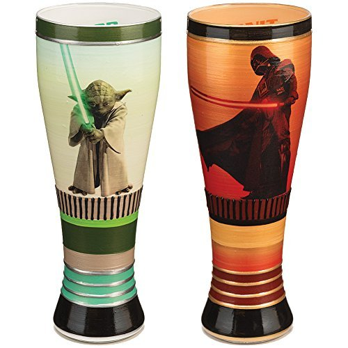 Star Wars Gift Set, 1 Yoda & 1 Darth Vader Hand Painted 20oz Glass by InkyBLLC