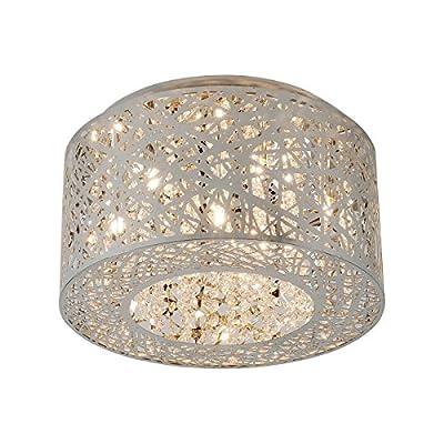 """15.7"""" Dia H 8"""" , 7 Lights Bird Nest Flush Mount Ceiling light Fixture Drum Inca Laser Cut Shade Crystal Inside"""