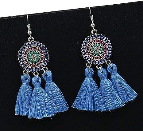Orecchini da donna con nappine lunghi Chytaii colorati porpora forma geometrica