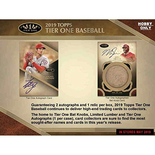 2019 Topps Tier One Baseball Hobby Box (1 Pack/3 Cards: 2 Autographs, 1 Relic)
