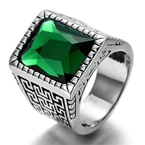 [Stainless Steel Ring for Men, Rectangle Ring Gothic Silver Band Greensize 12 Epinki] (Sauron Costumes)