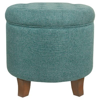 Boho Tufted Storage Ottoman - Teal - HomePop Teal by HomePop (Image #1)