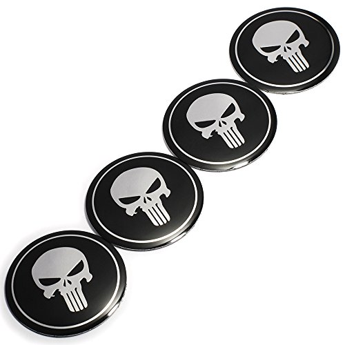 (2.2INCH 4PCS Cool 3D Skull Car Steering Tire Wheel Center Car Sticker Hub Cap Emblem Badge Decal Symbol For Opel Renault Mazda Bmw Audi Ford)