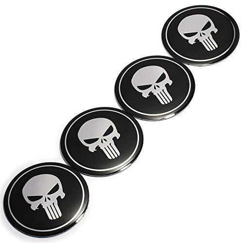 2.2INCH 4PCS Cool 3D Skull Car Steering Tire Wheel Center Car Sticker Hub Cap Emblem Badge Decal Symbol For Opel Renault Mazda Bmw Audi Ford ()