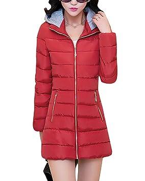Women Jacket Home Chaqueta Acolchada para Damas Abrigos Acolchados Cremallera Manga Larga Casual Liviana Tallas Grandes (Color : Red, ...