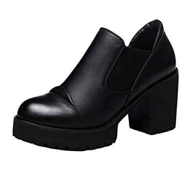 Amazon.com | Women New Style Fashion Chunky Heel Shoes Elegant Low