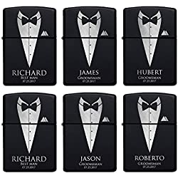Set of 6 - Personalized Lighter, Groomsmen Gifts - Gift Idea for Wedding Favor Customized Lighter Set w Black Tin, Matte Black #2