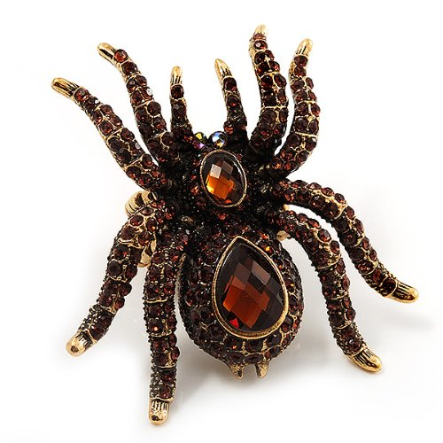 Antique Gold Tone Avalaya Oversized Amber Coloured Crystal Spider Stretch Cocktail Ring