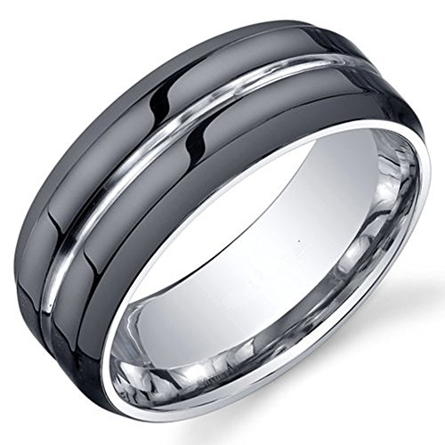 King Will Classic Mens 8mm Black Mens Tungsten Ring Wedding Band Grooved Center Polished Wedding Band(9.5)