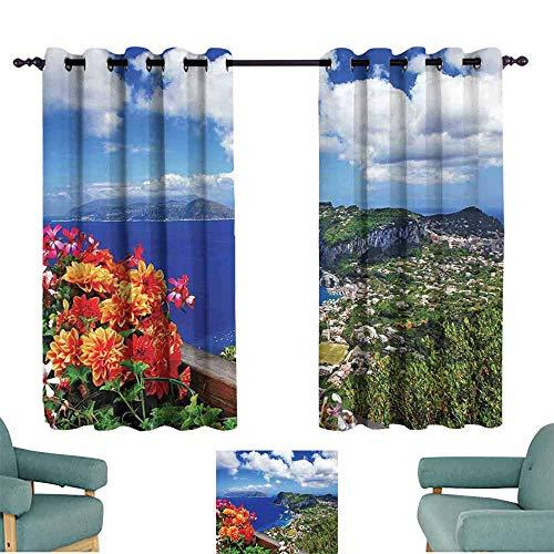 - HCCJLCKS Customized Curtains Island Scenic Capri Island Light Blocking Drapes with Liner W55 xL39 Italy Mountain Houses Flowers View from Balcony Landmark