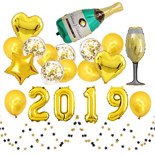 16inch 2019 Happy New Year with Golden Latex Balloon Confetti Balloon Star Heart Balloon Champagne Bottle Balloon and Paper Skewers for Graduation Party