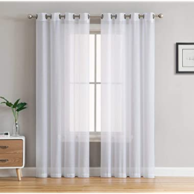 HLC.ME 2 Piece Sheer Voile Window Curtain Grommet Panels for Bedroom & Living Room (54  W x 84  L, White)