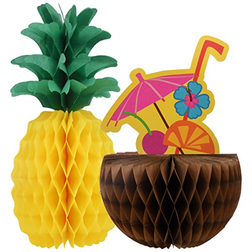 Summer Luau Party Pineapple and Coconut Honeycomb Centerpieces Table Decorations, Paper, 11