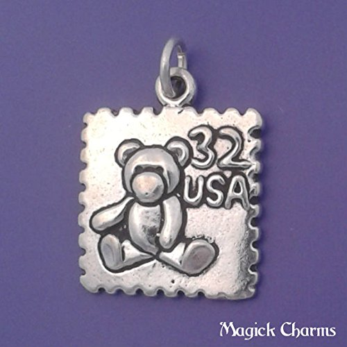925 Sterling Silver Teddy Bear USA Postage Stamp Charm Pendant Jewelry Making Supply, Pendant, Charms, Bracelet, DIY Crafting by Wholesale Charms