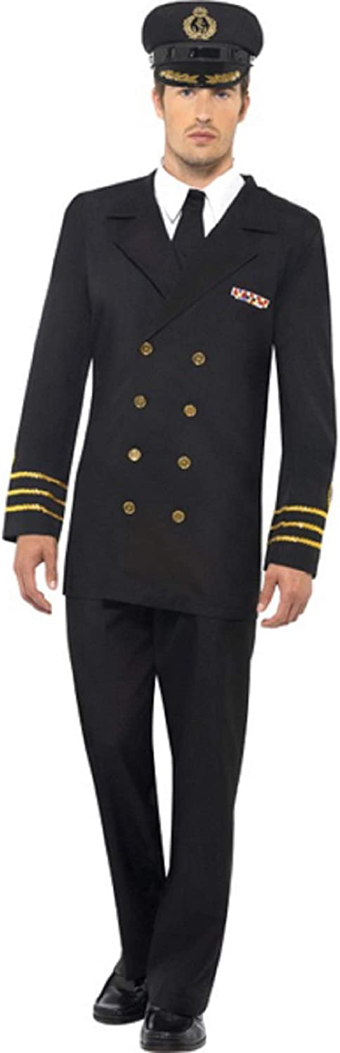 Mens Naval Officer Navy Sailor Sea Captain Uniform Stag Do Fancy Dress Costume Outfit