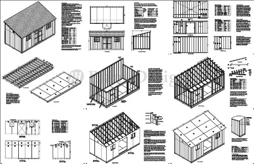 10 X 20 Deluxe Shed Plans Lean To Roof Style Design D1020l