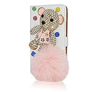 Seedan Bling Crystal Wallet Case for Samsung Galaxy S5 I9600 Rhinestone Bear Flip Leather Stand Cover with Card Holder