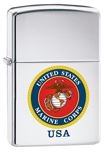 Zippo USMC USA High Polish Chrome Pocket Lighter ()
