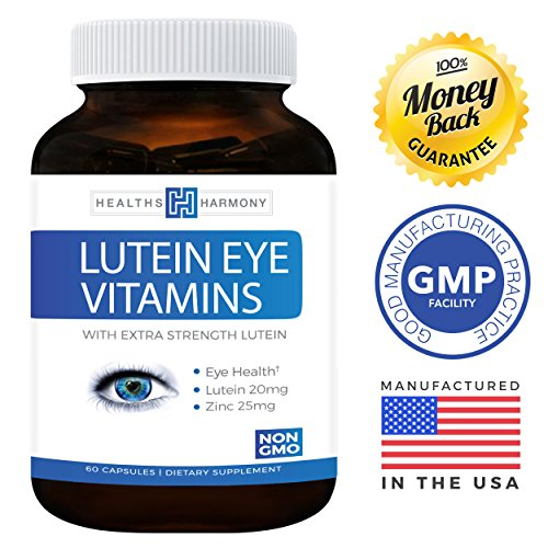 Best Lutein Eye Vitamins NON-GMO - Vision Support Supplement for Dry Eyes amp Vision Health Care - Bilberry - Proudly Made in the USA - 100 Money Back Guarantee - 60 Capsules Discount